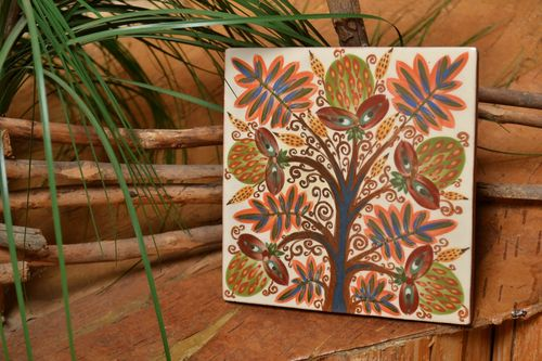 Painted and glazed ceramic tile for fireplace or kitchen wall handmade panel - MADEheart.com