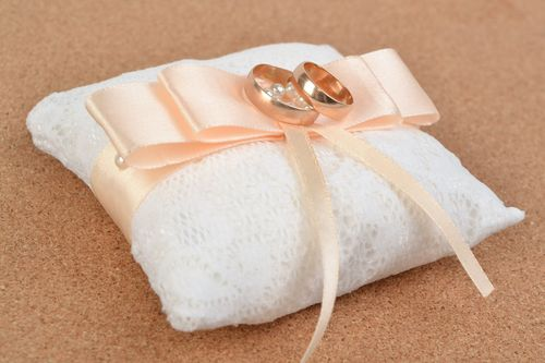Beautiful handmade fabric and lace ring bearer pillow with bow - MADEheart.com
