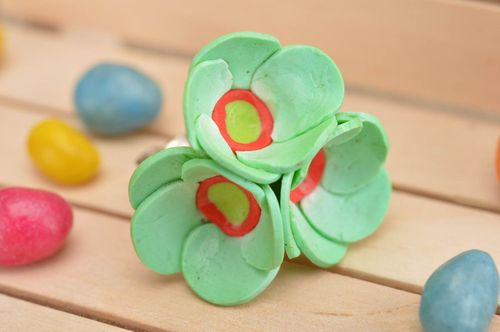 Handmade cute designer ring with tender green polymer clay water lily flowers - MADEheart.com