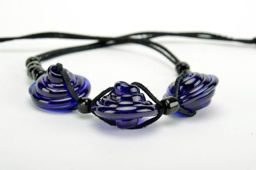 Dark blue tough glass necklace with leather cord - MADEheart.com