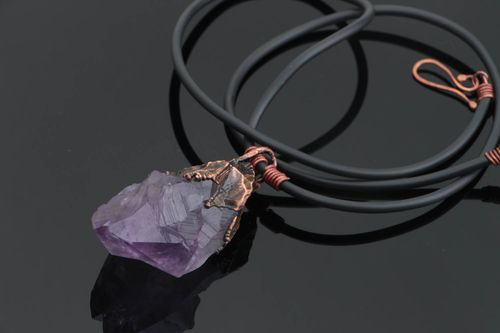 Stylish handmade designer copper neck pendant with amethyst on rubber cord - MADEheart.com