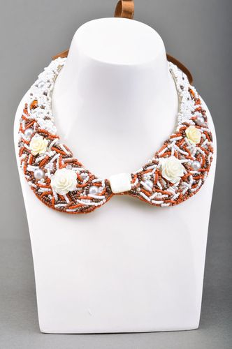Handmade designer bead embroidered collar necklace with plastic roses and ribbon - MADEheart.com
