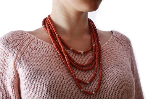 Handmade stylish multi row ceramic bead necklace of red color in ethnic style - MADEheart.com