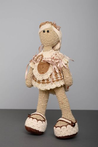 Large crochet doll of grey and brown colors - MADEheart.com
