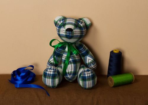 Soft toy Check Patterned Bear - MADEheart.com