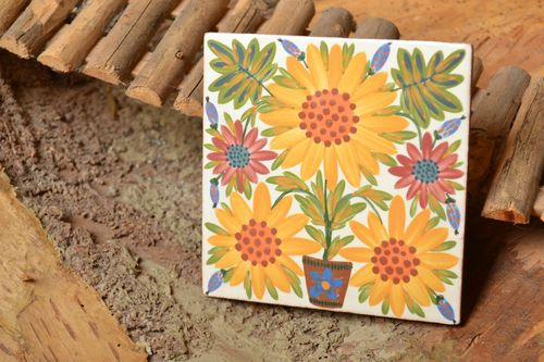 Handmade tile for kitchen decor ceramic panel with floral ornaments - MADEheart.com