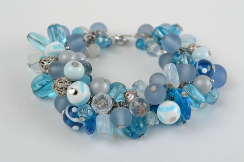 Beautiful homemade marine wrist bracelet with rock crystal and glass beads - MADEheart.com
