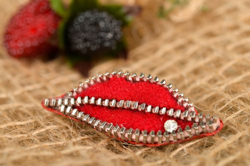 Handmade brooch lips designer accessory textile red  leather zipper brooch - MADEheart.com