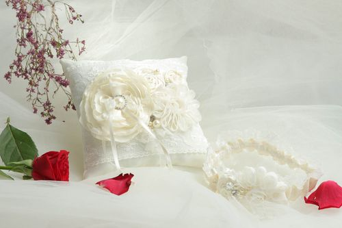 Beautiful handmade bridal garter wedding ring pillow wedding attributes - MADEheart.com