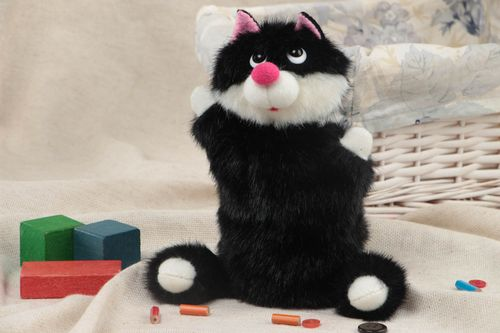 Black and white funny handmade faux fur fabric puppet toy Cat - MADEheart.com
