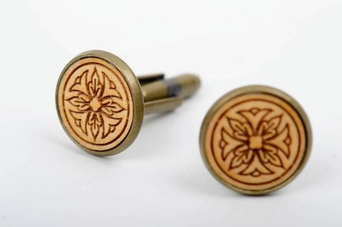 Handmade wooden cufflinks on metal basis designer special present for men - MADEheart.com