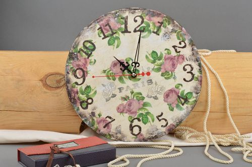 Handmade clock with flower print unusual vintage clock stylish wall decor - MADEheart.com