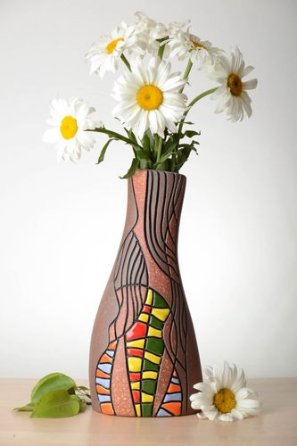 12 inches ceramic vase tall in bright colors 2 lb - MADEheart.com
