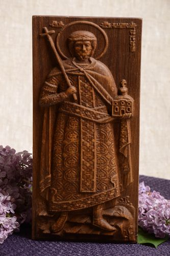 Handmade wooden wall panel icon with metal fastening Serbian Saint Vladislav - MADEheart.com