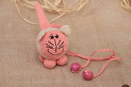 Crocheted cotton rattle small pink cat handmade toy for children and nursery - MADEheart.com