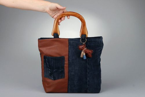 Handmade bag made of artificial leather and velvet fabric - MADEheart.com