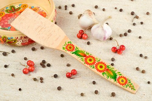 Handmade beautiful spatula wooden painted spatula unusual kitchen utensil - MADEheart.com