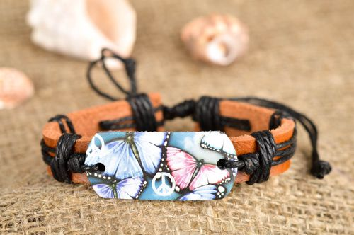 Handmade leather bracelet thread jewelry summer accessory present for women - MADEheart.com