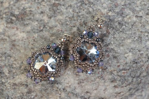 Handmade beaded stud earrings with Austrian crystals beautiful stylish jewery - MADEheart.com