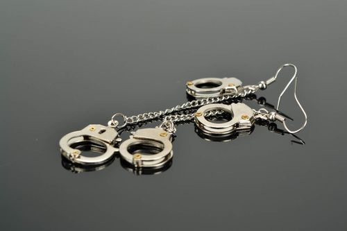 Metal earrings Handcuffs - MADEheart.com