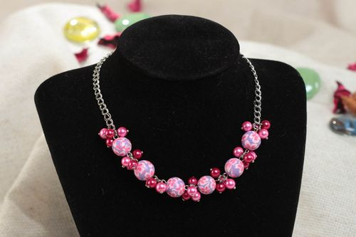 Beautiful handmade pink polymer clay necklace for children - MADEheart.com