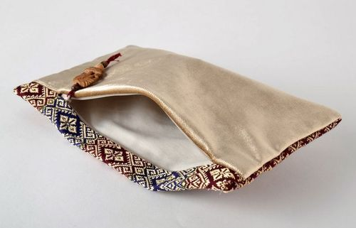 Beauty bag-clutch of red and blue colors - MADEheart.com