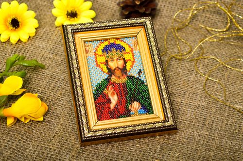 Handmade beautiful designer icon embroidered orthodox icon religious present - MADEheart.com