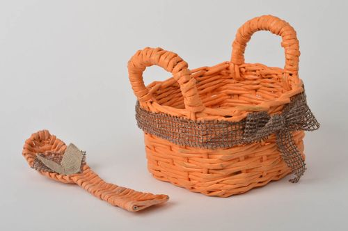 Handmade woven basket stylish paper basket unusual decoupage items cute spoon - MADEheart.com