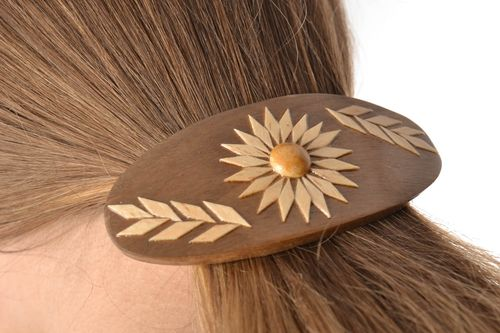 Jewelry and hair accessories Beautiful stylish handmade varnished wooden barrette  - MADEheart.com