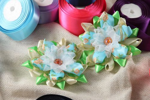 Handmade flower hair clip 2 pieces kanzashi flower hair accessories for girls - MADEheart.com