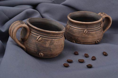Handmade ceramic cups designer beautiful coffee set 2 lovely stylish cups - MADEheart.com