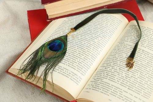 Bookmark Peacock Feather - MADEheart.com