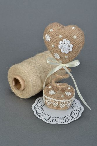 Handmade small heart-shaped beige interior decorative tree topiary with beads - MADEheart.com