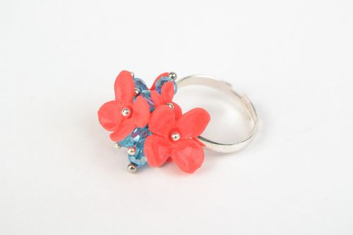 Handmade plastic flower ring with crystal beads - MADEheart.com