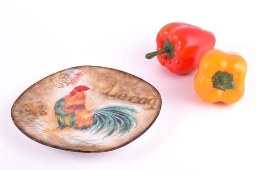 Decorative handmade plate beautiful decoupage wall decor with fruit paintings - MADEheart.com