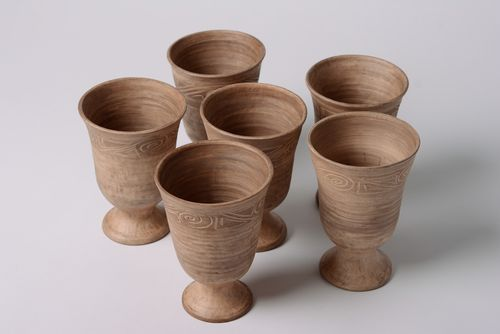 Handmade ceramic goblets kilned with milk 6 items for 400 ml drinkware set - MADEheart.com