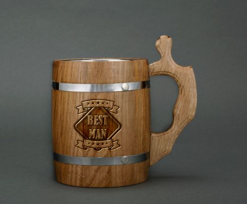 Personalised gift, engraving, wooden beer mug - MADEheart.com