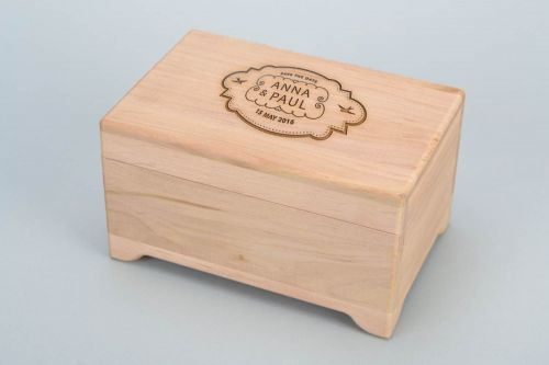 Personalised gift, handmade wooden jewelry box of middle size craft blank for decoration - MADEheart.com