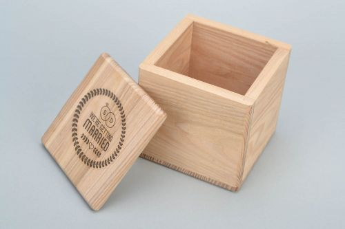 Personalised gift, Handmade natural wooden square jewelry box craft blank for creative work - MADEheart.com