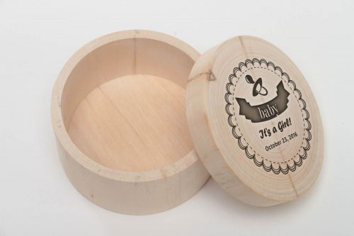Personalised gift, handmade wooden craft blank for decoration round jewelry box DIY present - MADEheart.com