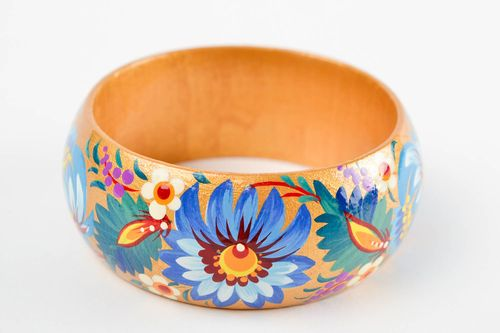 Handmade wide wooden bracelet stylish ethnic accessory painted bracelet - MADEheart.com