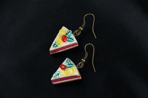 Earrings made of polymer clay Fruit cake - MADEheart.com
