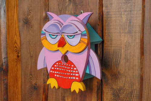 Painted soft wood birdhouse in the shape of owl - MADEheart.com