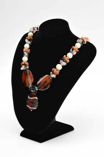 Handmade designer necklace jewelry with natural stone elegant necklace - MADEheart.com