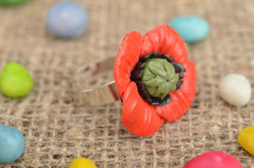 Handmade extravagant metal-based ring made of polymer clay in form of red poppy - MADEheart.com