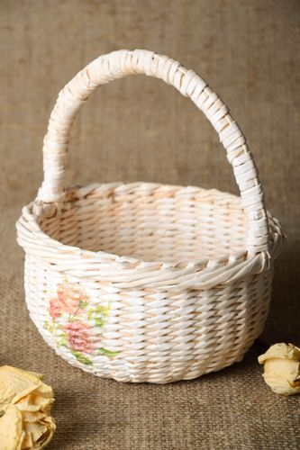 Beautiful handmade newspaper basket woven paper basket interior decorating - MADEheart.com