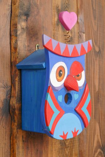 Painted wooden birdhouse in the shape of owl - MADEheart.com