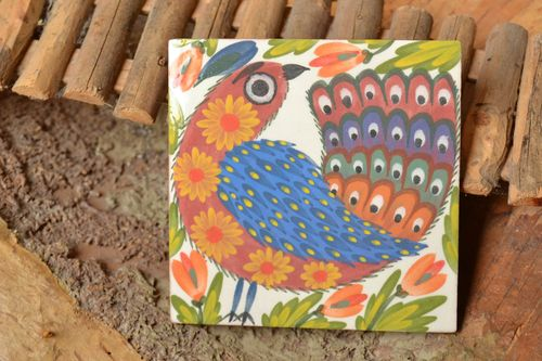 Handmade ceramic tile Bird of Paradise painted with engobe and glaze home decor - MADEheart.com