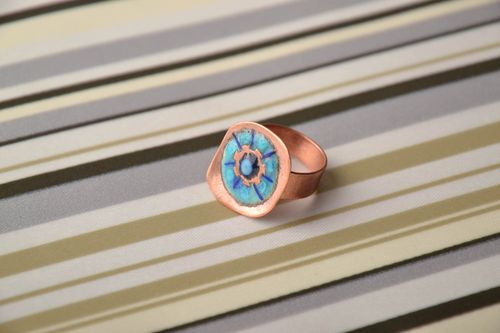 Color enamel painted copper ring - MADEheart.com