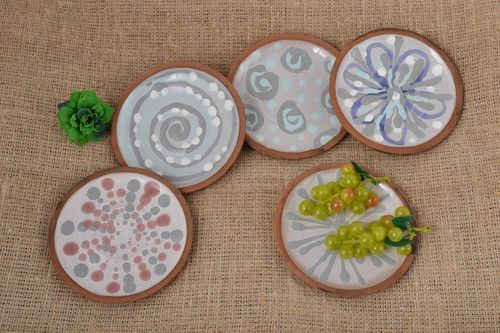 Handmade ceramic plates clay dishes painted plates 5 painted plates clay plate   - MADEheart.com